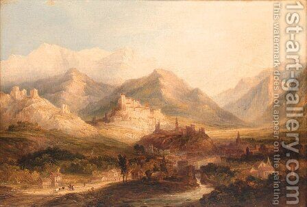 A hilltop Town before an Alpine Landscape by (after) Anthony Vandyke Copley Fielding - Reproduction Oil Painting