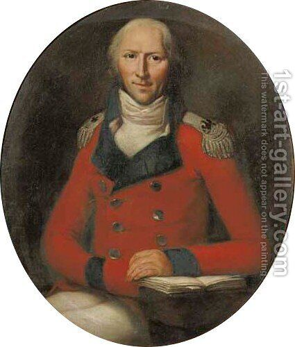 Portrait of a gentleman, seated small three-quarter length, in a red military uniform by (after) Anton Graff - Reproduction Oil Painting