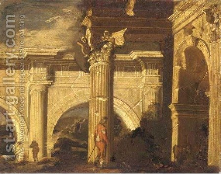A capriccio of Roman ruins with a herder and other figures by (after) Ascanio Luciano - Reproduction Oil Painting