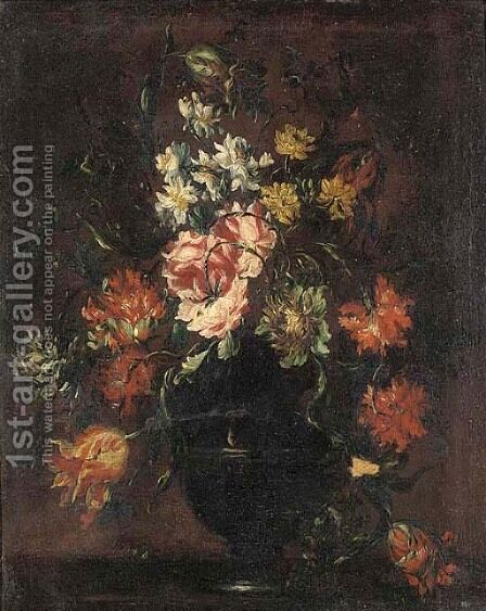 Roses, daffodils, tulips and carnations in a vase on a table by (after) Bartolome Perez - Reproduction Oil Painting