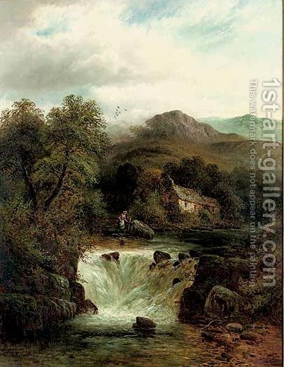 A woman beside a waterfall by (after) Benjamin Williams Leader - Reproduction Oil Painting