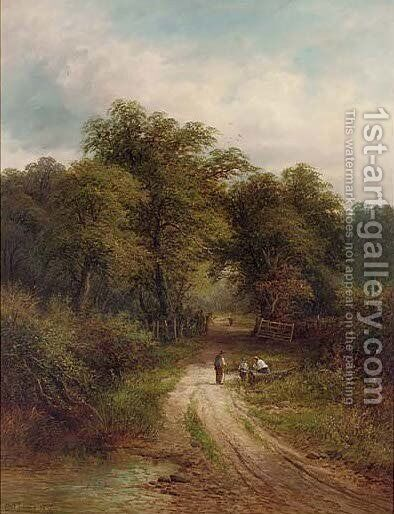 A rest beside the road by (after) Benjamin Williams Leader - Reproduction Oil Painting