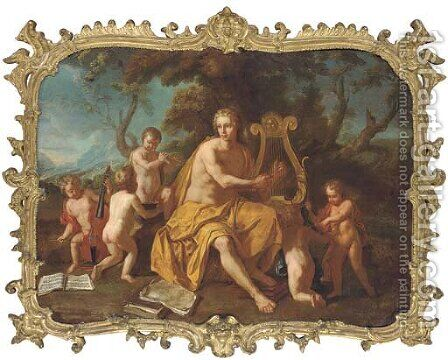 Apollo playing the lyre with music-making putti by (after) Bon Boullogne - Reproduction Oil Painting