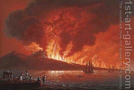 The eruption of Vesuvius, June 1794, by night by (after) Camillo De Vito - Reproduction Oil Painting