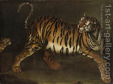 A tigress and her cub by (after) Carl Borromaus Andreas Ruthart - Reproduction Oil Painting
