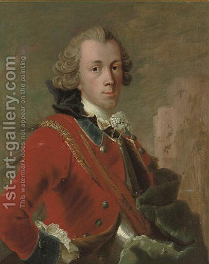 Portrait of a Danish cavalry officer by (after) Carl Gustaf Pilo - Reproduction Oil Painting
