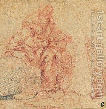 Study For A Madonna And Child In The Clouds by (after) Carlo Maratta Or Maratti - Reproduction Oil Painting