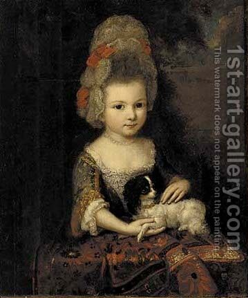 Portrait of a young lady by (after) Caspar Netscher - Reproduction Oil Painting