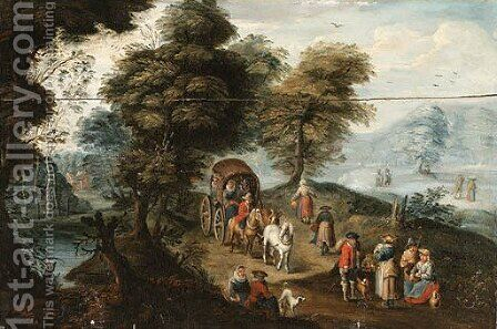 River Landscape with Travellers on Path 2 by (after) Charles Beschey - Reproduction Oil Painting