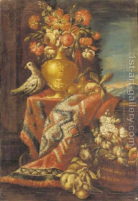A vase of flowers with a pigeon on a draped ledge, a basket of fruit below by (after) Christian Berentz - Reproduction Oil Painting