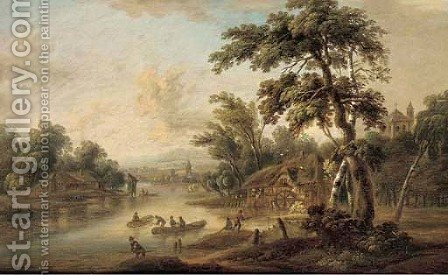 A river landscape with fishermen by a mill by (after) Christian Georg II Schutz Or Schuz - Reproduction Oil Painting