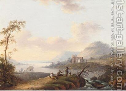 River Landscape With Fishermen by (after) Christian Georg II Schutz Or Schuz - Reproduction Oil Painting