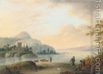 River Landscape With Drovers And Their Animals by (after) Christian Georg II Schutz Or Schuz - Reproduction Oil Painting