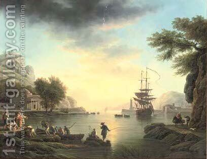 A landscape at sunset, with fishermen returning with their catch by (after) Claude-Joseph Vernet - Reproduction Oil Painting
