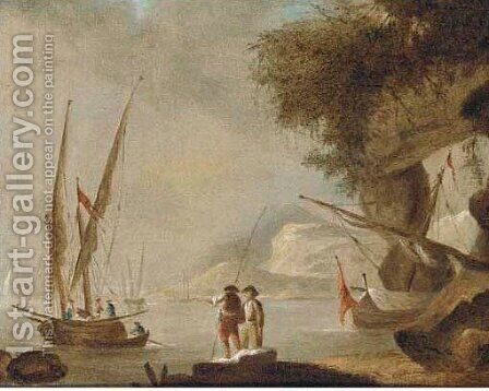A Mediterranean coastal inlet with shipping by (after) Claude-Joseph Vernet - Reproduction Oil Painting