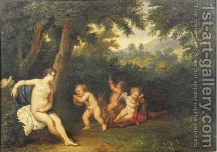 Wooded landscape with Venus and Diana with putti disporting by (after) Cornelis Huysmans - Reproduction Oil Painting