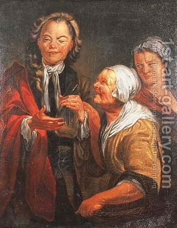 A doctor and an old woman by (after) Cornelis Troost - Reproduction Oil Painting