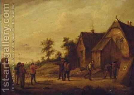 Peasants at archery by (after) David The Younger Teniers - Reproduction Oil Painting