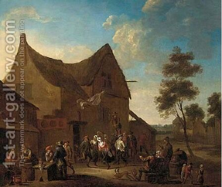 A village kermesse with dancers by (after) David The Younger Teniers - Reproduction Oil Painting