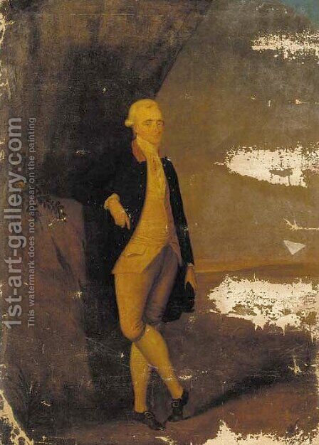 Portrait of a gentleman, full-length, by a tree in an extensive landscape by (after) Edward Haytley - Reproduction Oil Painting