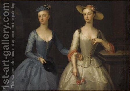 Double Portrait Of Lady Sophia And Lady Charlotte Fermor by (after) Enoch Seeman - Reproduction Oil Painting