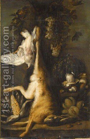 Still Life With A Hare, A Pigeon, Mushrooms And Corn by (after) Felice Boselli - Reproduction Oil Painting