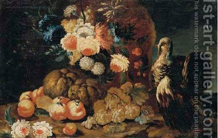 Peonies, hydrangeas and other flowers with melons, peaches and grapes by (after) Felice Fortunato Biggi: - Reproduction Oil Painting