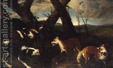 Hounds attacking foxes by (after) Ferdinand Phillip De Hamilton - Reproduction Oil Painting