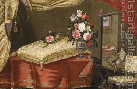Flowers in vases in sumptuous interiors, decorated with richly embroidered curtains and cushions by (after) Francesco (Il Maltese) Fieravino - Reproduction Oil Painting