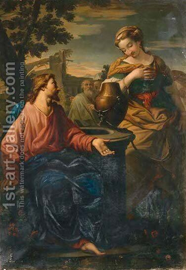 Christ and the Woman of Samaria by (after) Francesco Albani - Reproduction Oil Painting