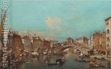 The Grand Canal, Venice, with the Rialto Bridge by (after) Francesco Guardi - Reproduction Oil Painting