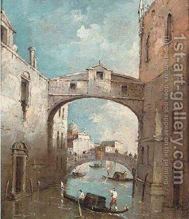 The Bridge of Sighs, Venice by (after) Francesco Guardi - Reproduction Oil Painting