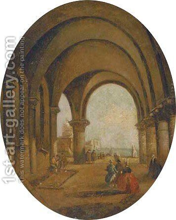Figures beneath an archway by (after) Francesco Guardi - Reproduction Oil Painting