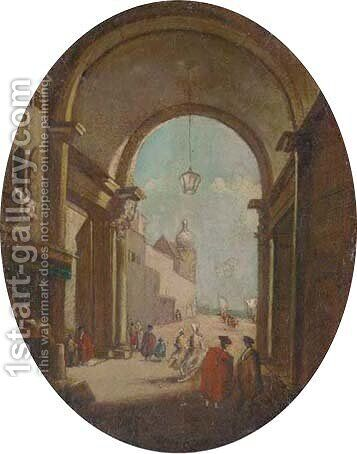 Figures beneath the arches of the Doge's Palace, Venice by (after) Francesco Guardi - Reproduction Oil Painting