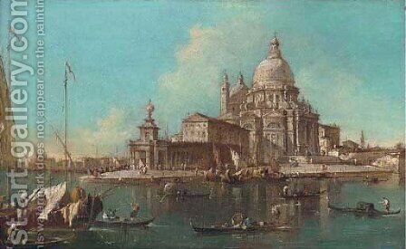 The Entrance to the Grand Canal, Venice, with the Church of Santa Maria della Salute by (after) Francesco Guardi - Reproduction Oil Painting