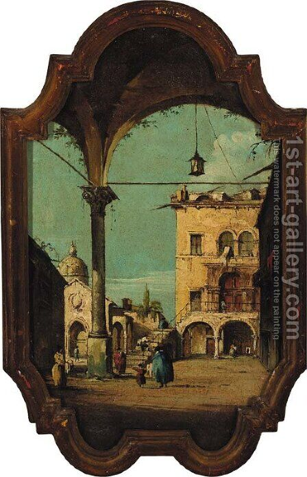Figures in a courtyard by (after) Francesco Guardi - Reproduction Oil Painting