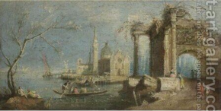 A Set Of Four Capriccio Scenes Of The Venetian Laguna 2 by (after) Francesco Guardi - Reproduction Oil Painting
