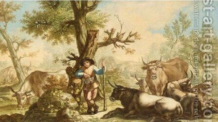 Landscape With A Drover And His Cattle by (after) Francesco Londonio - Reproduction Oil Painting