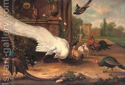 Peacock, pheasant, cockerel, hens, magpies and a monkey in the grounds of a country estate by (after) Francis Barlow - Reproduction Oil Painting