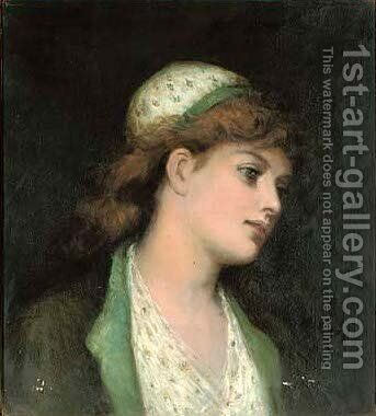 Portrait of a young girl, bust-length, in a matching white dress and cap with green flowers by (after) Francis Sydney Muschamp - Reproduction Oil Painting