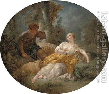 A shepherd courting a shepherdess by (after) Francois Boucher - Reproduction Oil Painting