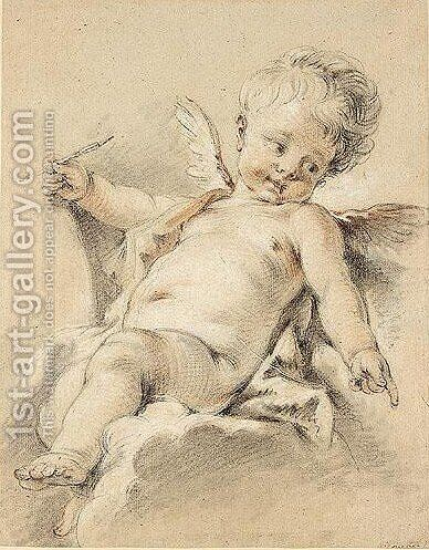 Study of a putto by (after) Francois Boucher - Reproduction Oil Painting
