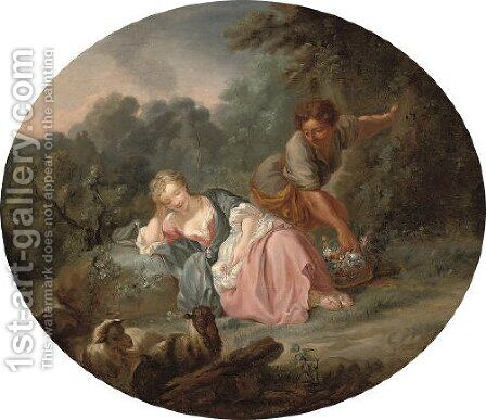 A shepherd and a sleeping shepherdess in a landscape by (after) Francois Boucher - Reproduction Oil Painting
