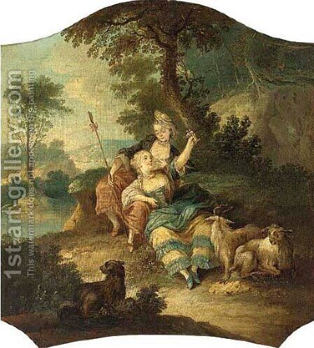 Shepherdesses in a landscape by (after) Francois Boucher - Reproduction Oil Painting