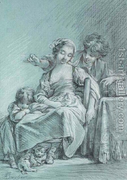 An infant and a cat by her feet by (after) Francois Boucher - Reproduction Oil Painting