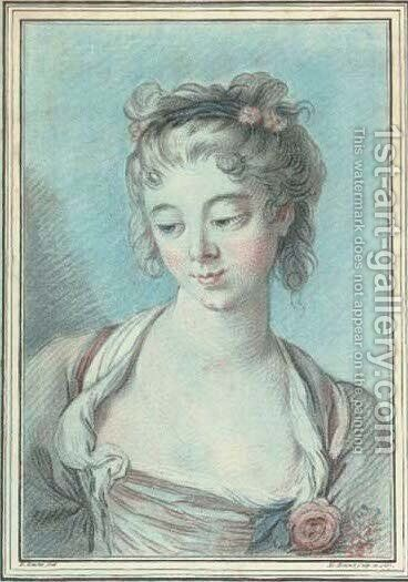 Portrait of a lady by (after) Francois Boucher - Reproduction Oil Painting