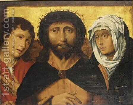 Christ Crowned With Thorns, With Mary And St John The Evangelist by (after) Frans Mostaert - Reproduction Oil Painting