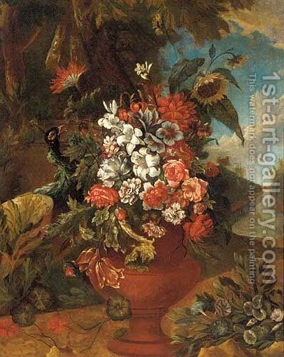Lilies, sunflowers, roses, parrot tulips and other flowers in an urn, in a wooded landscape by (after) Franz Werner Von Tamm - Reproduction Oil Painting
