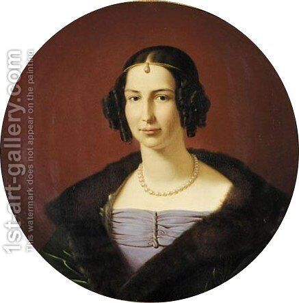 Portrait of Luise Prinzessin Von Preussen, Prinzessin Von Anhalt-Bernburg by (after) Friedrich Wilhelm Von Schadow - Reproduction Oil Painting