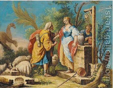 Rebecca and Eliezer at the well by (after) Gaetano Zompini - Reproduction Oil Painting
